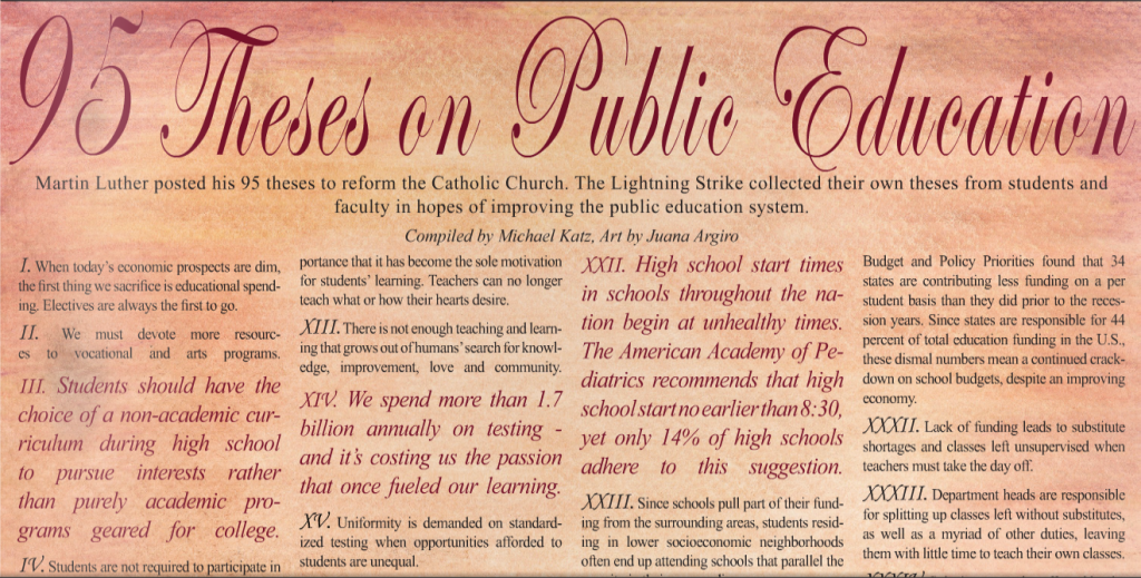 The 95 Theses On Failures And Flaws Of Public Education