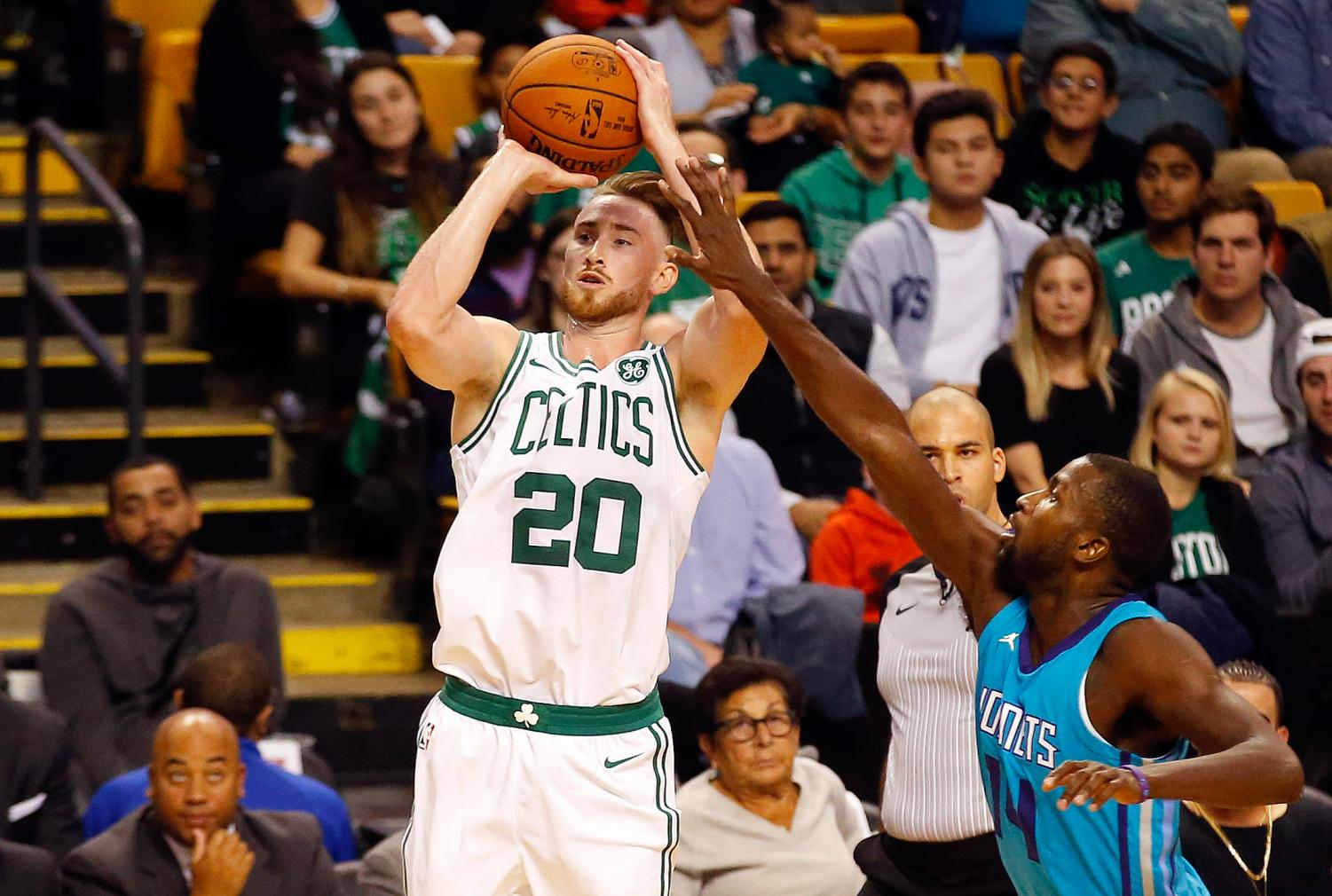 Boston Celtics player gordon Hayward takes a shot in a game against the Charlotte Hornets. on Oct. 2. Hayward injured his leg on Oct. 17, inhibiting him to play for the remainder of the season.